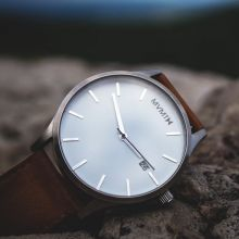 MVMT Classic Watch - White Face, Brown Leather